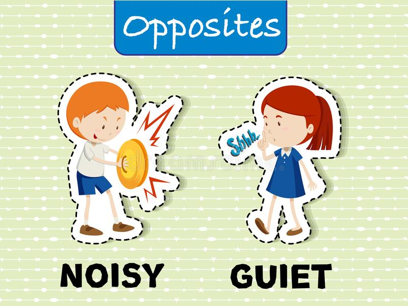 Opposite words for noisy and quiet. Illustration royalty free illustration