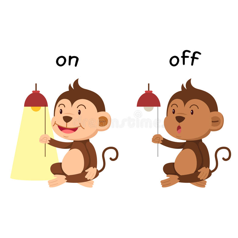 Opposite words on and off vector. Illustration stock illustration