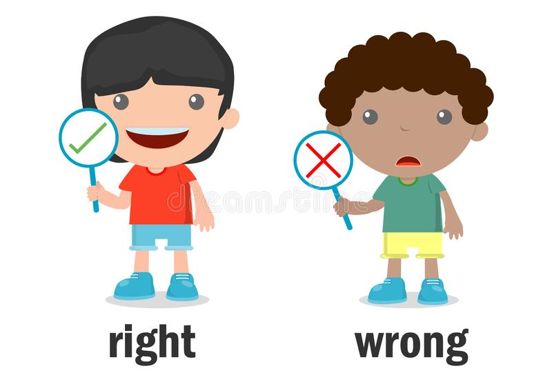 Opposite words right and wrong vector illustration, Opposite English Words right and wrong on white background.  stock illustration