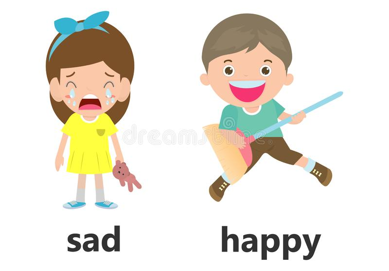 Opposite words sad and happy vector illustration, Opposite English Words sad and happy vector illustration on white background. Opposite words sad and happy stock illustration