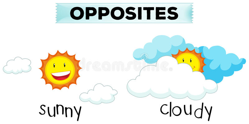 Opposite words for sunny and cloudy. Illustration stock illustration