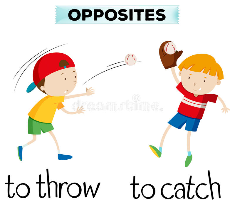 Opposite words with throw and catch. Illustration vector illustration