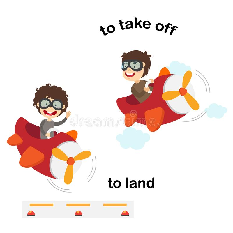 Opposite words to land and to take off. Vector illustration stock illustration