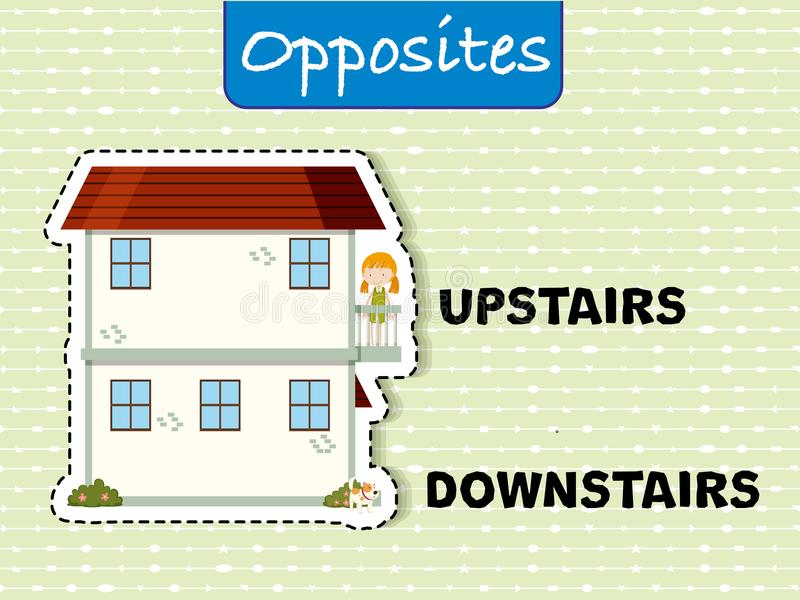 Opposite words for upstairs and downstairs. Illustration stock illustration