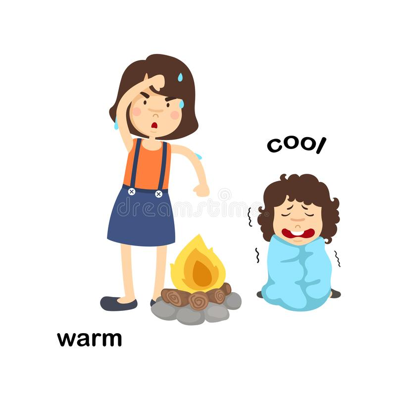 Opposite words warm and cool. Vector illustration stock illustration