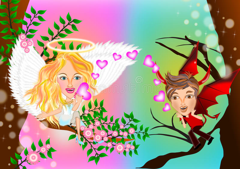 Opposites attract between angel and devil. Pretty angel and devil in love valentine concept illustrations vector illustration