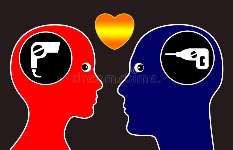 Opposites attract stock illustration