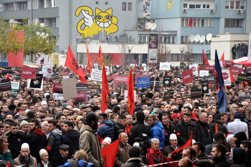 Oppositieprotest in Prishtina, Kosovo royalty-vrije stock foto's