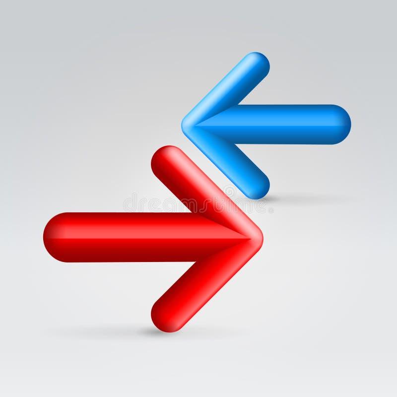 Opposition av röda och blåa pilar royaltyfri illustrationer
