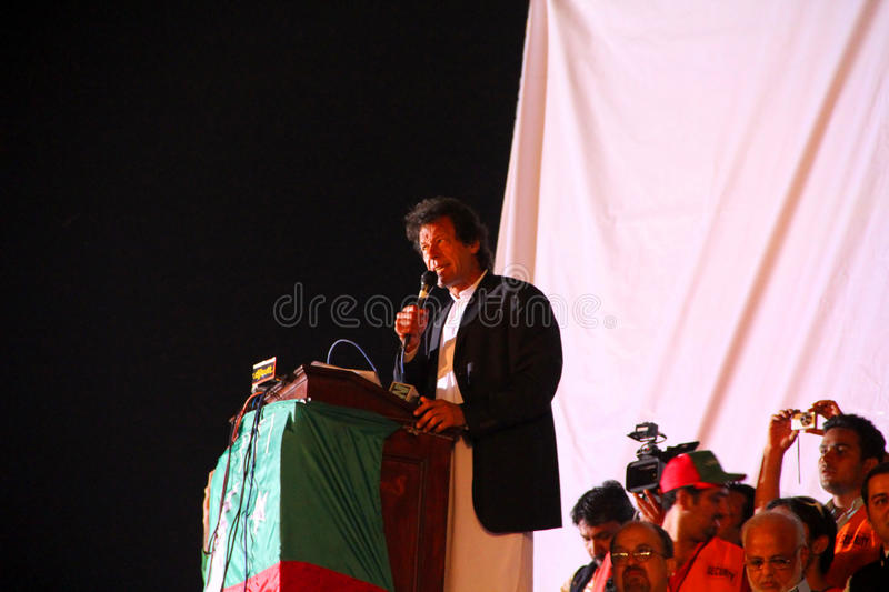 Opposition Leader Imran Khan at Lahore Jalsa. LAHORE, PAKISTAN - OCT 30: Chairman Pakistan Tehreek-e-Insaf Imran Khan speaks during a political rally on October royalty free stock photos