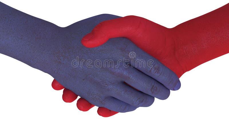 Opposition sides shake hands agree compromise stock illustration