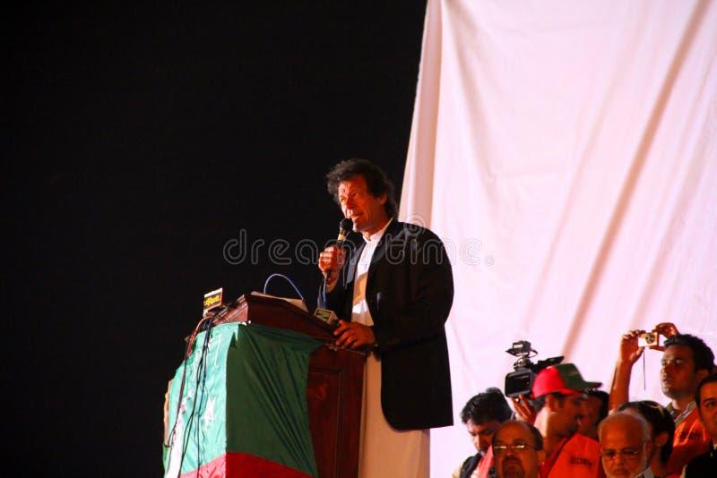 Oppositionsführer Imran Khan in Lahore Jalsa lizenzfreie stockfotos