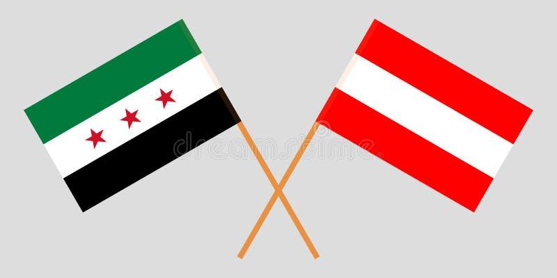 Opposizione dell'Austria e della Siria La coalizione nazionale siriana e le bandiere austriache Colori ufficiali Proporzione corr illustrazione di stock