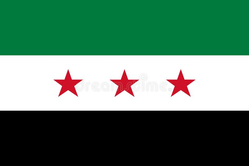 Opposizione della Siria Bandiera del governo interinale di coalizione nazionale siriana Colori ufficiali Proporzione corretta Vet illustrazione vettoriale