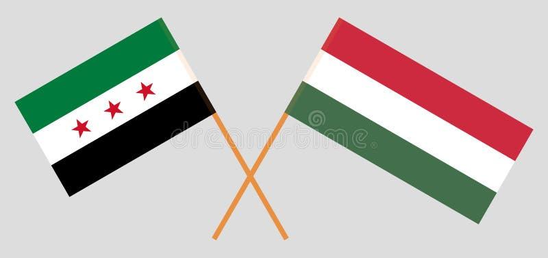 Opposizione della Siria e dell'Ungheria Le bandiere nazionali ungheresi e siriane di coalizione Proporzione ufficiale Colori corr royalty illustrazione gratis