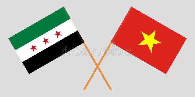 Opposizione della Siria e della Repubblica socialista del Vietnam Le bandiere vietnamite e siriane Colori ufficiali Proporzione c royalty illustrazione gratis