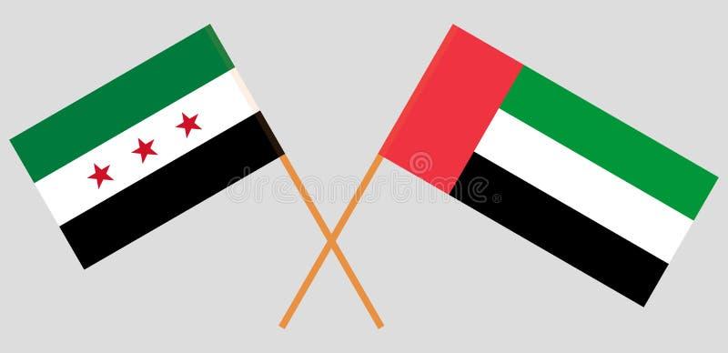 Opposizione e gli Emirati Arabi Uniti della Siria Coalizione nazionale siriana e bandiere dei UAE Colori ufficiali Proporzione co illustrazione di stock