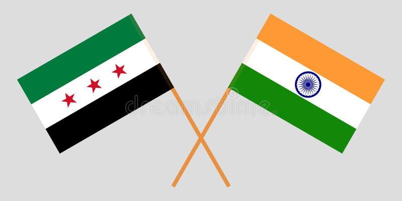 Opposizione e l'India della Siria Coalizione nazionale siriana e bandiere indiane Colori ufficiali Proporzione corretta Vettore illustrazione vettoriale