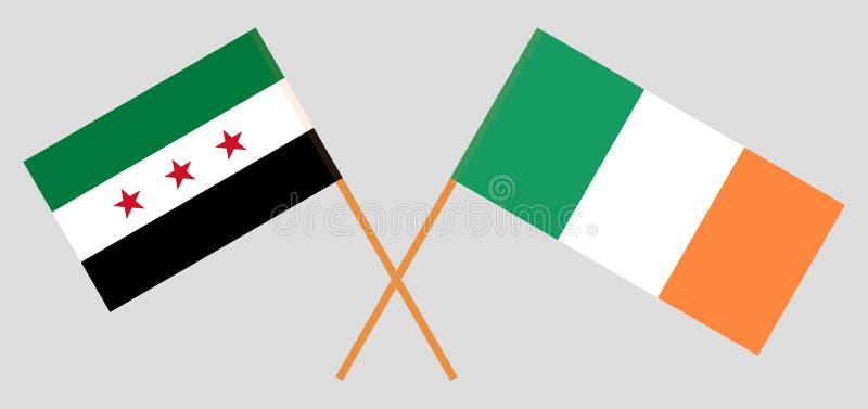 Opposizione e l'Irlanda della Siria La coalizione nazionale siriana e le bandiere irlandesi Colori ufficiali Proporzione corretta illustrazione di stock