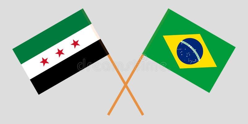 Opposizione ed il Brasile della Siria La coalizione nazionale siriana e le bandiere brasiliane Proporzione ufficiale Colori corre royalty illustrazione gratis