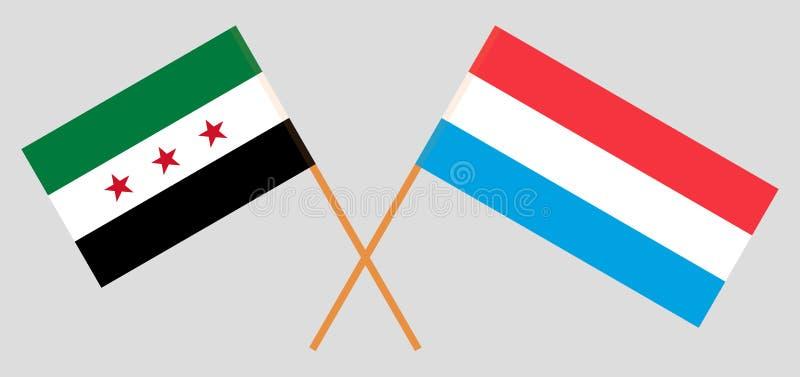 Opposizione ed il Lussemburgo della Siria Le bandiere nazionali lussemburghesi e siriane di coalizione illustrazione vettoriale