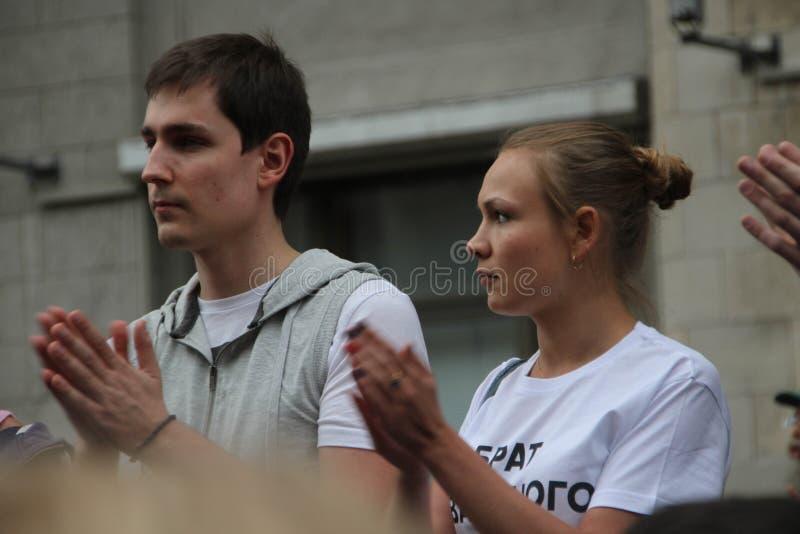 Opposizione sconosciuta ad azione a sostegno di Alexei Navalny immagine stock