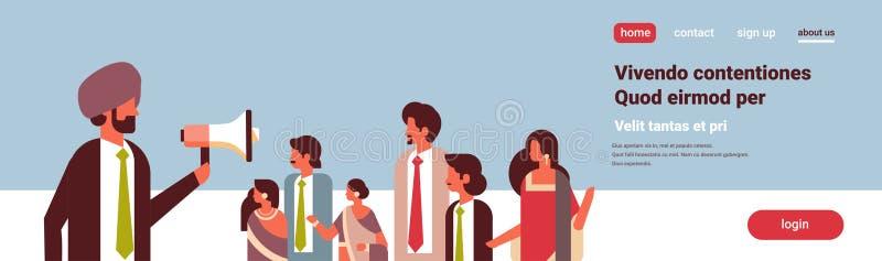 Opposizione sociale dell'attivista dell'uomo d'affari della tenuta del megafono di annuncio di concetto del leader della squadra  royalty illustrazione gratis