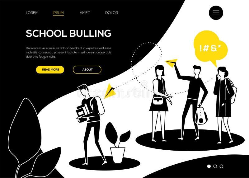 Oppressione di scuola - insegna piana di web di stile di progettazione illustrazione vettoriale