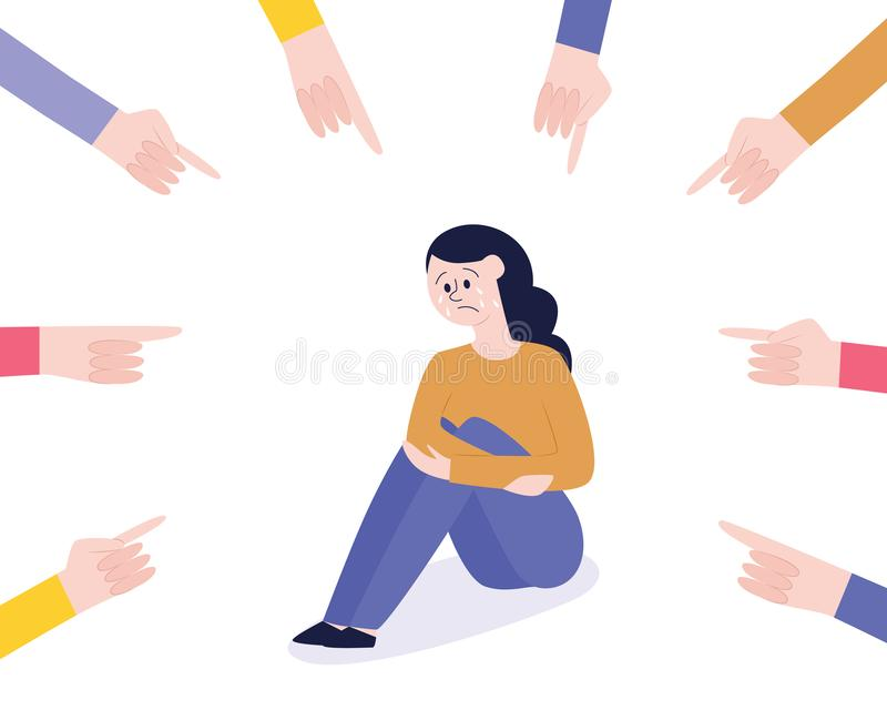 Oppressione di vettore della ragazza teenager che si siede pianamente da solo illustrazione vettoriale