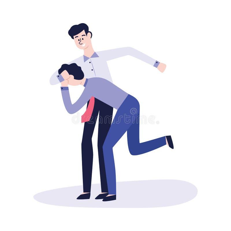 Oppressione e violenza fisiche fra due uomini o ragazzi, studenti o impiegati di concetto royalty illustrazione gratis