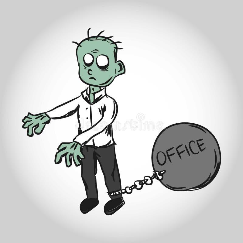 Opprimente tramite l'illustrazione dell'ufficio Lavoratore dello zombie immagini stock libere da diritti