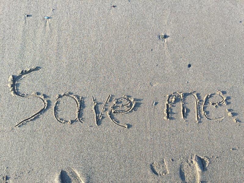Oprócz Ja - pisać w piasku fotografia royalty free
