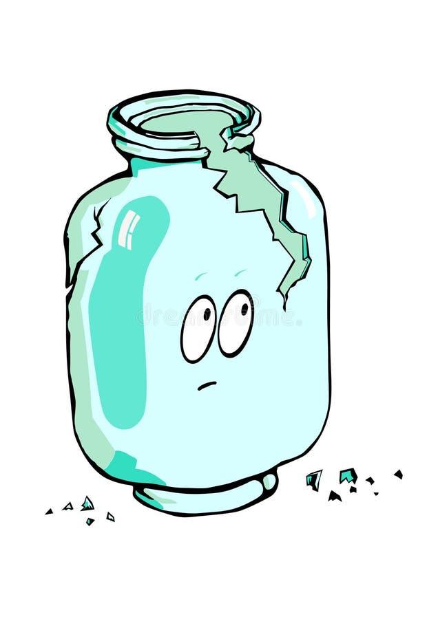 Opróżnia łamanego szklanego słój ilustracji