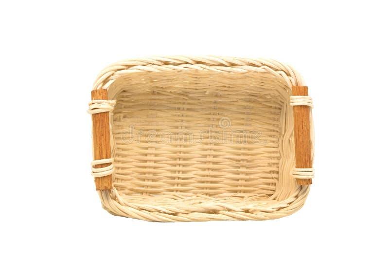Opróżnia łozinowego kosz, drewnianą owoc lub chleba kosz na białym backg, zdjęcie royalty free