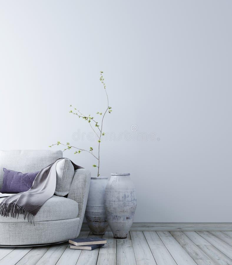 Opróżnia ścianę dla mockup z pastelowym scandinavian minimalistycznym wewnętrznym tłem ilustracja wektor