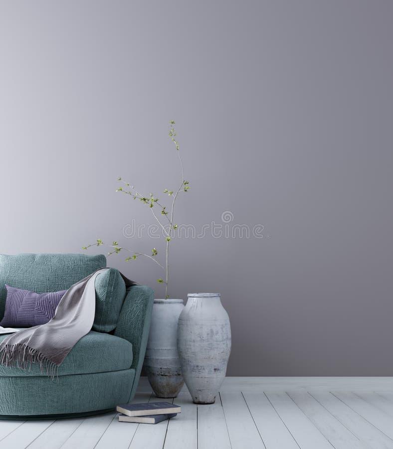 Opróżnia ścianę dla mockup z pastelowym scandinavian minimalistycznym wewnętrznym tłem ilustracji