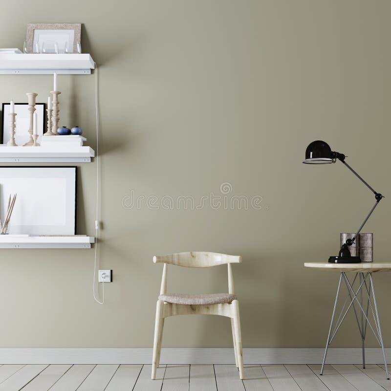 Opróżnia ścianę dla mockup z rocznika modnisia minimalizmu loft wewnętrznym tłem z krzesłem i półkami z wystrojem, 3D rendering ilustracji