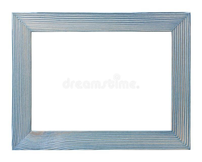 Opróżnia błękitną drewnianą fotografii ramę odizolowywającą na białym tle obraz royalty free