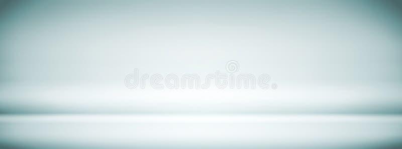 Opróżnia Błękitnego Białego Pracownianego tło, abstrakt, gradientu popielaty tło, rocznika kolor, widescreen sztandaru projekt ilustracja wektor
