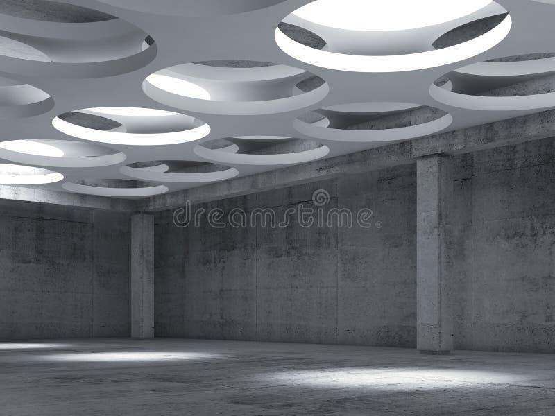 Opróżnia betonowego sala wnętrze z dużymi round lampami ilustracja wektor