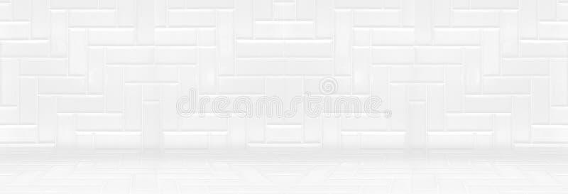 Opróżnia białą czystą ceramiczną płytkę ścienną i podłogowego tło, Minimalnego zdjęcie stock