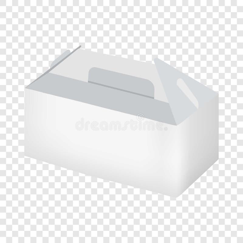 Opróżnia białego bierze out pudełkowatego mockup, realistyczny styl ilustracji