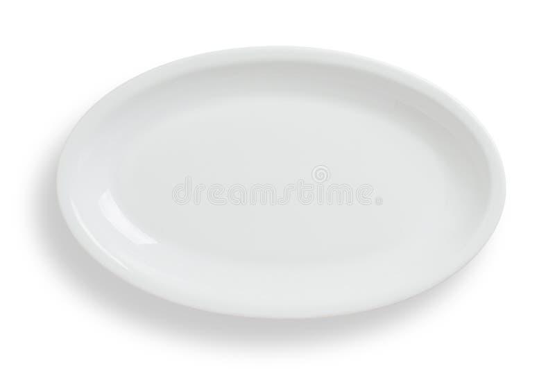 Opróżnia białego owalu talerza na białym tle, ścinek ścieżka zawiera zdjęcia stock