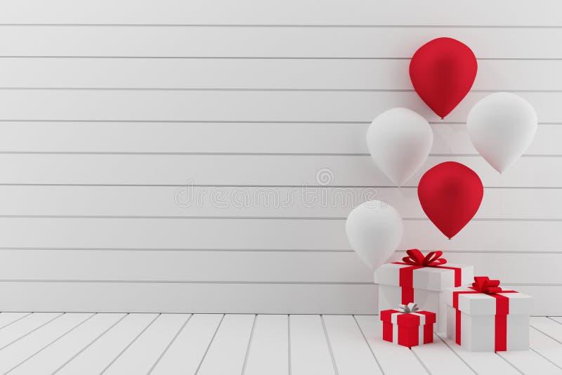 Opróżnia białego pokój z balonami bawi się w 3D renderingu ilustracji