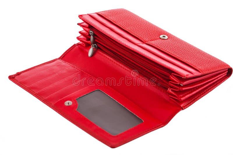 Opróżnia, czerwień, kobieta portfel odizolowywający na bielu fotografia stock