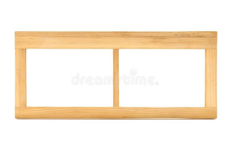 Opróżnia Drewnianą Lekkiego koloru kopii obrazka ramę na Białym Backgroun zdjęcia stock