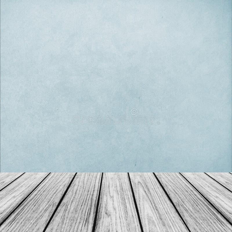 Opróżnia Drewnianą Perspektywiczną platformę z Abstrakcjonistyczną Bławą tło teksturą używać jako szablon zdjęcia stock