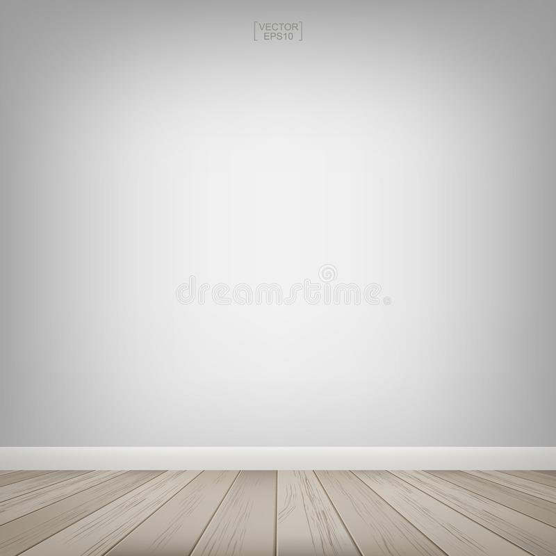 Opróżnia drewnianą pokój przestrzeń z biel ściany tłem również zwrócić corel ilustracji wektora ilustracji