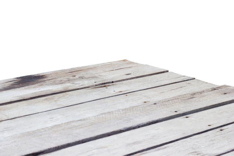 Opróżnia drewnianego stołowego wierzchołka kąt odizolowywającego na białym tle obraz royalty free
