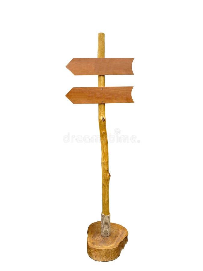 Opróżnia drewnianego strzałkowatego szyldowej poczta lub drogi kierunkowskaz odizolowywającego nad whit obraz stock